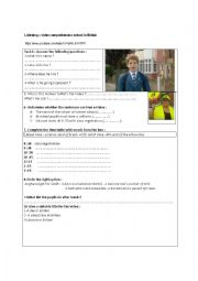 English Worksheet: This is britain : school video listening comprehension