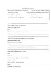 English Worksheet: Ordering food at the restaurant