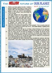 English Worksheet: The HELLISH future of OUR PLANET.   READING or TEST