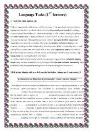 English Worksheet: language tasks