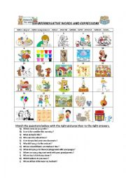 English Worksheet: Questions with interrogatives. Homework for level A2-B1.