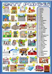 English Worksheet: City places : matching