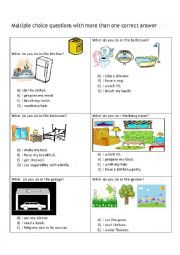 English worksheet: What do you do at home? (Time filler)