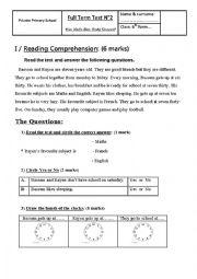 English Worksheet: Full Term Test n°2 - 6th form