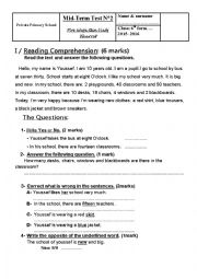 English Worksheet: Mid Term Test n� 2 - 6th form