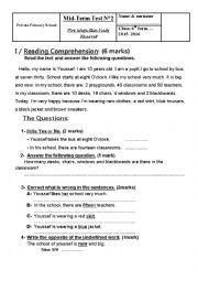 English Worksheet: Mid Term Test n° 2 - 6th form