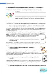 English worksheet: Stereotypes about women in sports