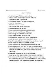 English Worksheet: instruction