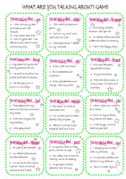 English Worksheet: What are you talking about game