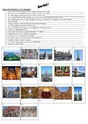 English Worksheet: NEW-YORK CITY LANDMARKS