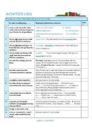English Worksheet: Reading Activities Log