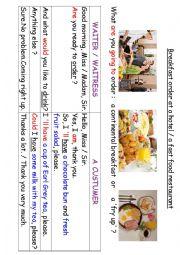 English Worksheet: Breakfast Order Dialog