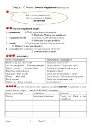 English worksheet: Power of compliments