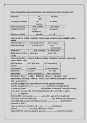 English worksheet: prefixes