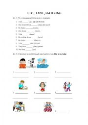 English Worksheet: like, love hate + ing form