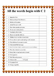 English Worksheet: All the words begin with C 2