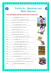 English Worksheet: Verb to be: Short Questions & Answers