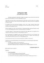 English Worksheet: Earthquake in Haiti : The world rushes to help