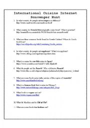 English Worksheet: Food Scavenger Hunt
