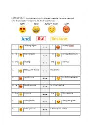 English Worksheet: Likes and conjunctions