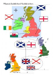 English Worksheet: The British Isles, flags and countries