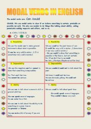 English Worksheet: Modal verbs Can or Could in english