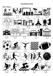 English Worksheet: Listening Vocabulary Test (worksheet): Places and Sports