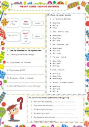 English Worksheet: PRESENT SIMPLE - NEGATIVE SENTENCES