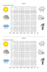 English Worksheet: Weather Word Search