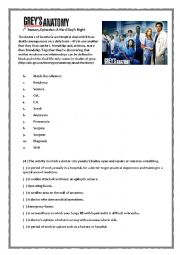 English Worksheet: Grey´s Anatomy Pilot