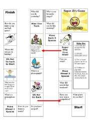 English Worksheet: elementary speaking board game for young learners