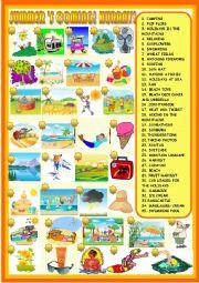 English Worksheet: Summer�s coming: matching activity