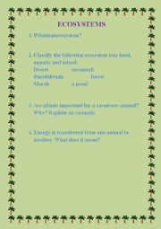 English Worksheet: Ecosystems review activities
