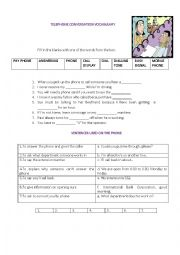 English Worksheet: Tourism - Telephone conversation Vocabulary