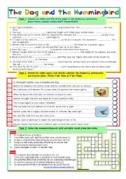 English Worksheet: The Dog and the Hummingbird