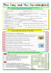 English Worksheet: The Dog and the Hummingbird