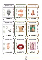 English Worksheet: Go Fish Game - Body Parts