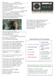 English Worksheet: Coldplay - Up and Up (V+ing)