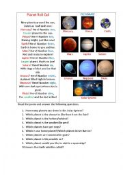 English Worksheet: PLANETS ROLL CALL