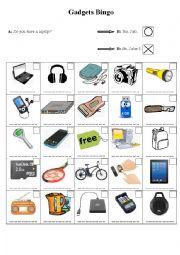 English Worksheet: Gadgets Bingo