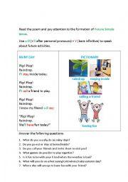 English Worksheet: RAINY DAY (a poem)