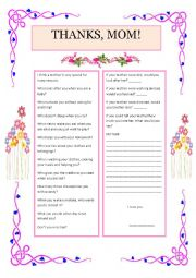 English Worksheet: a tribute for my mother