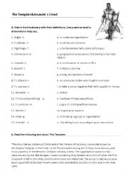 English Worksheet: The Knights Templar & Assassin�s Creed