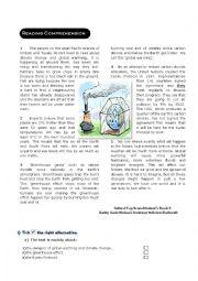 English Worksheet: global warming reading comprehension