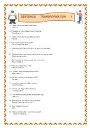 English Worksheet: Sentence transformation Teens