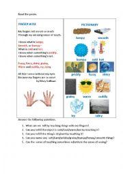 English Worksheet: FINGER WISE (a poem)