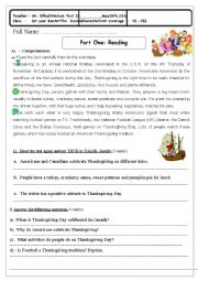 English Worksheet: Test 2 Celebrations