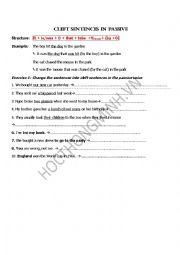 English Worksheet: Cleft sentences in passive