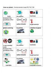 English Worksheet: Environmental issues Tic Tac Toe
