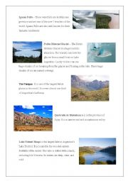 English Worksheet: Touristic places in Argentina